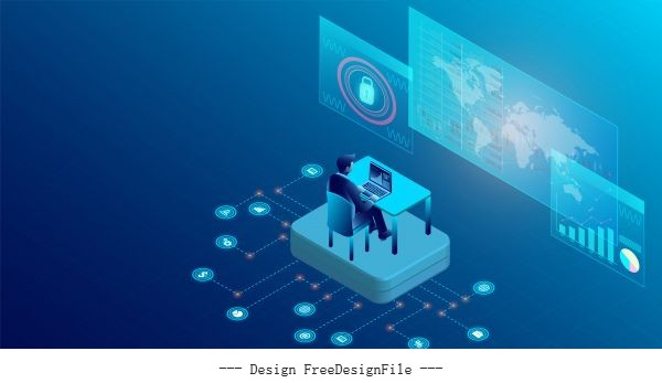 Business analysis concept with characters interface to tracking website interaction order chart virtual shopping digital marketing illustration flat isometric background vector