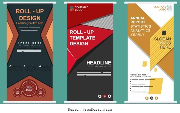Business banner templates colorful modern standee vector set