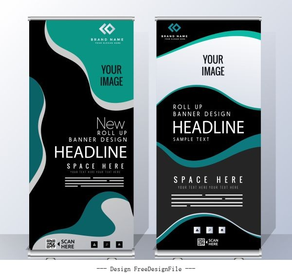 Business banner templates modern abstract curves vector