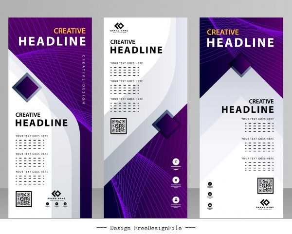 Business banner templates modern violet white dynamic design vector