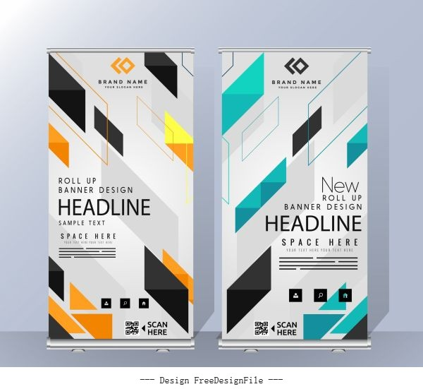 Business banners templates modern colorful geometric vectors