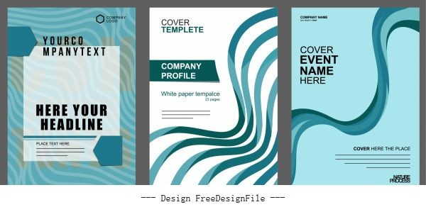 Business brochure cover template modern dynamic curves shiny vector
