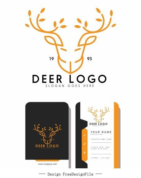 Business card logotype reindeer head symmetric handdrawn vectors material
