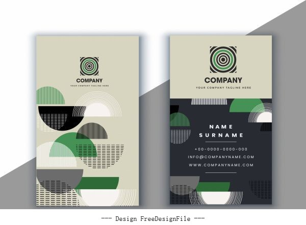 Business card template abstract half circles vector graphics