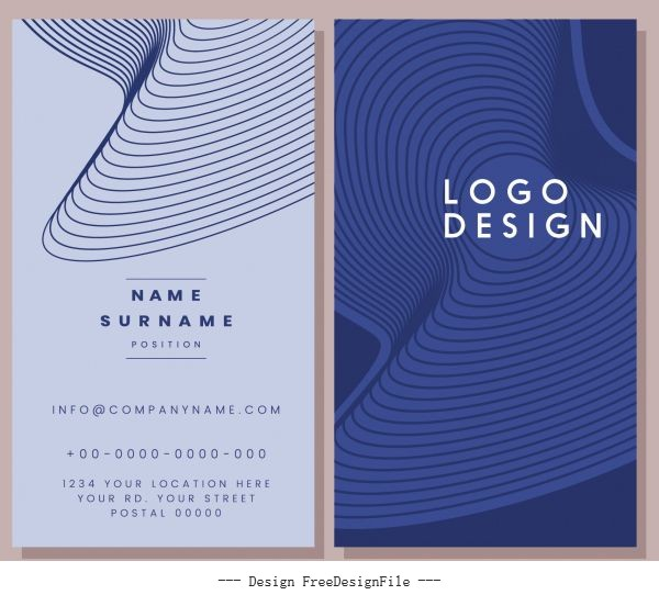Business card template abstract spiral 3d shapes vertical vector