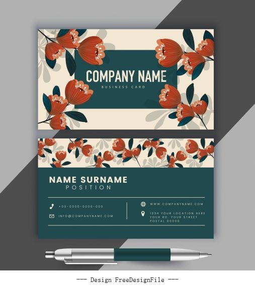 Business card template blooming floral classical illustration vector