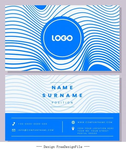Business card template blue illusive curves decor vector