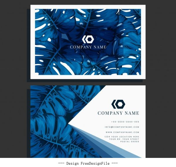 Business card template blue leaves vector graphics