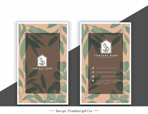 Business card template blurred leaves vertical vectors material