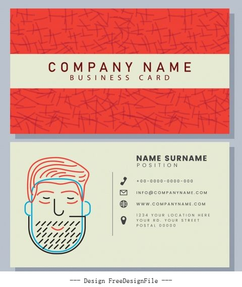 Business card template classic handdrawn man face sketch shiny vector