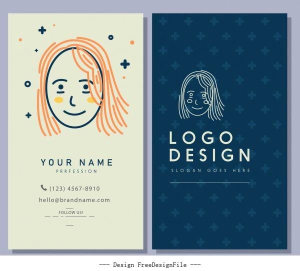 Business card template handdrawn woman face vector