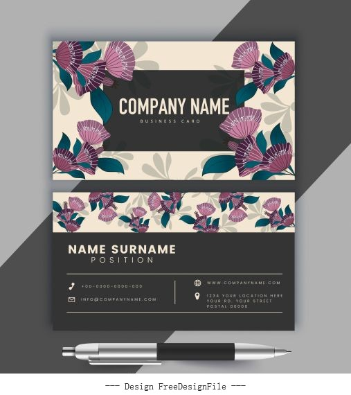 Business card template classical floral vectors