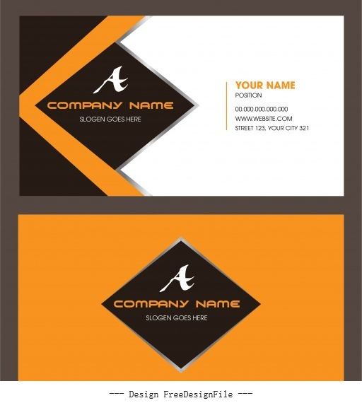 Business card template colored modern flat vector