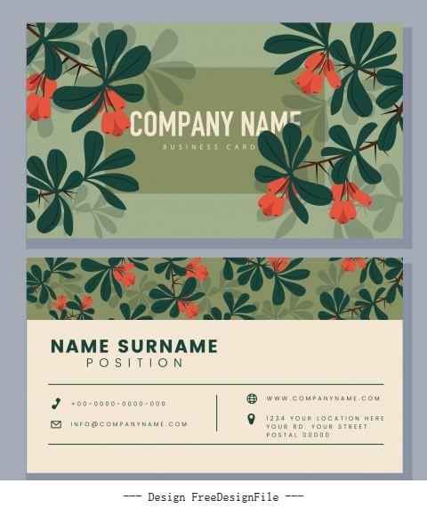 Business card template colored flowers classical vector