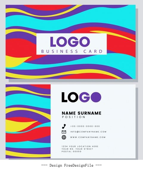 Business card template colorful flat waving lines vector design