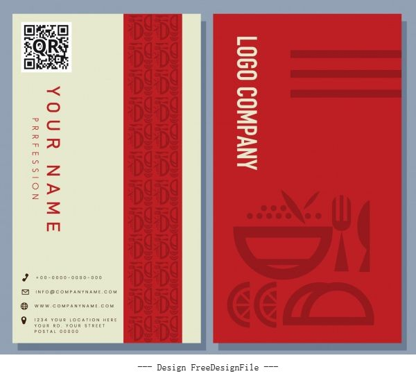 Business card template culinary theme flat vertical vector