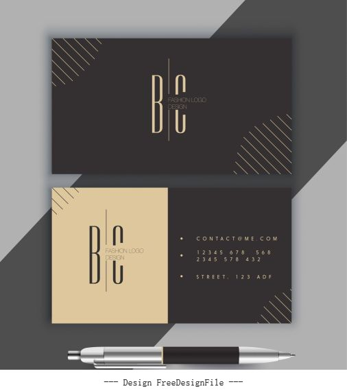 Business card template dark flat simple vector