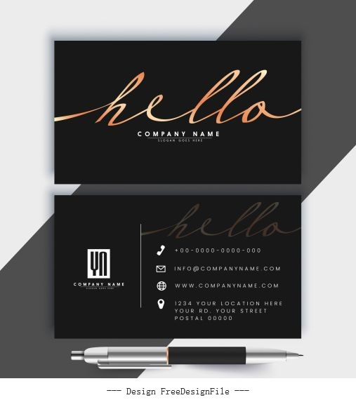 Business card template luxury dark black vector