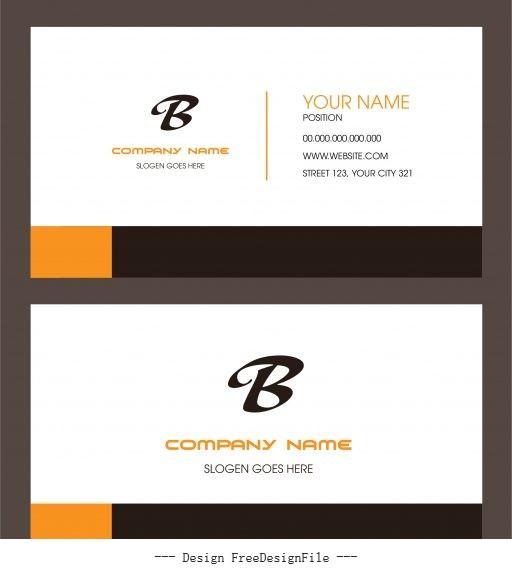 Business card template elegant simple plain decor set vector