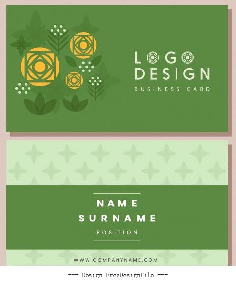 Business card template flower green flat vector