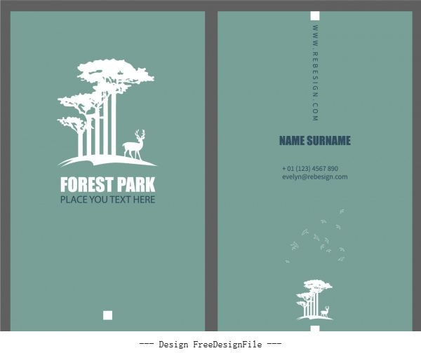 Business card template forest elements plain silhouette vector