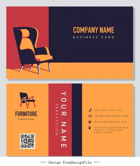 Business card template furniture chair colorful design vectors