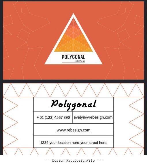 Business card template geometric modern flat vectors material