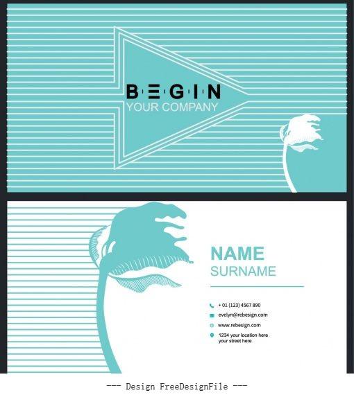 Business card template leaning flower arrow stripes decor vector
