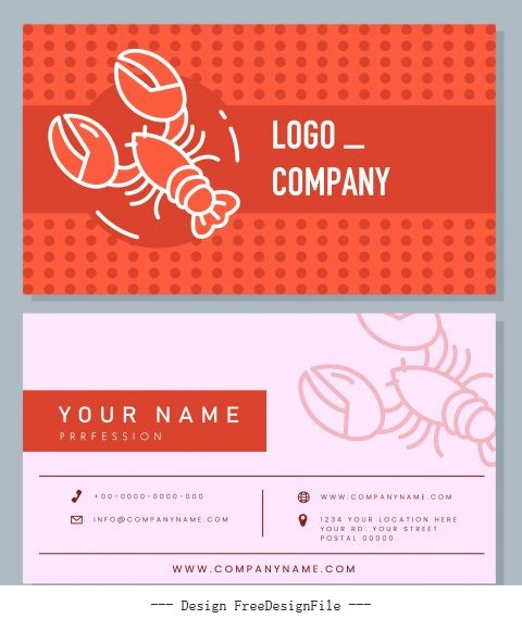 Business card template lobster flat handdrawn set vector