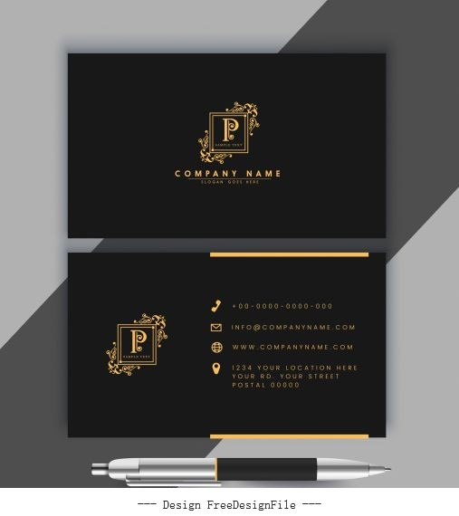 Business card template luxury golden black royal vector