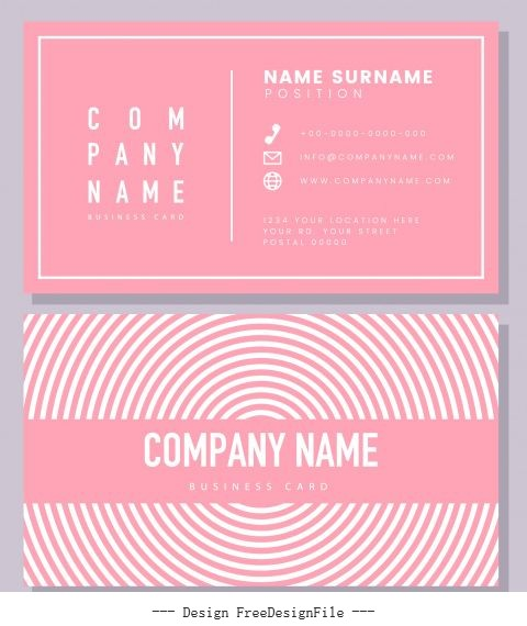 Business card template pink flat symmetric rounded curves vector