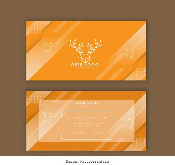 Business card template reindeer logo yellow stripes vector