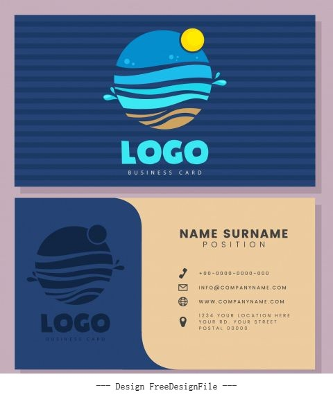 Business card template sea wave logo flat vector