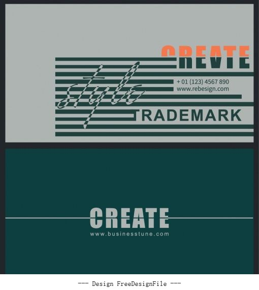 Business card template simple flat plain stripes vector