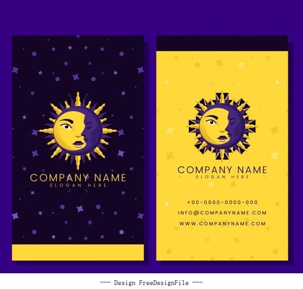 Business card template with moon sun vector