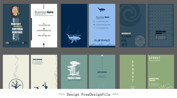 Business card templates collection plain various themes set vector