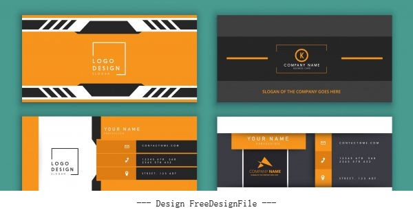Business card templates colored flat technology vector material