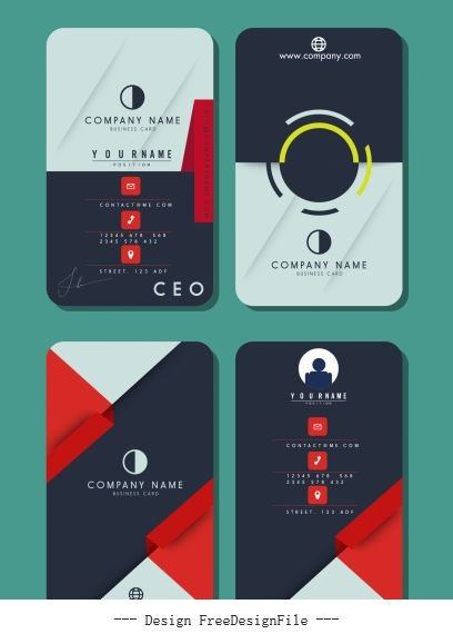 Business card templates colored flat vertical technology theme vector