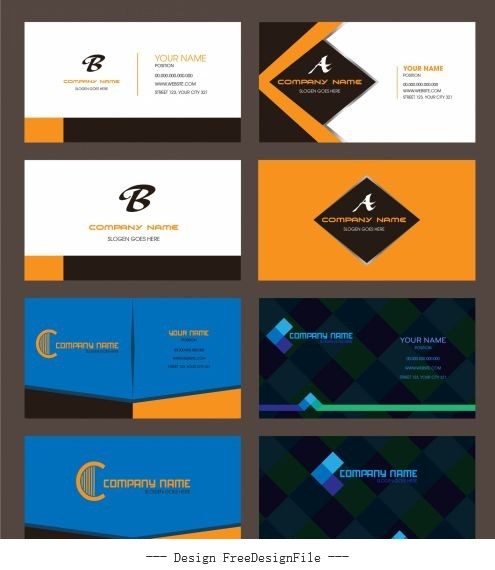 Business card templates colored modern flat vector