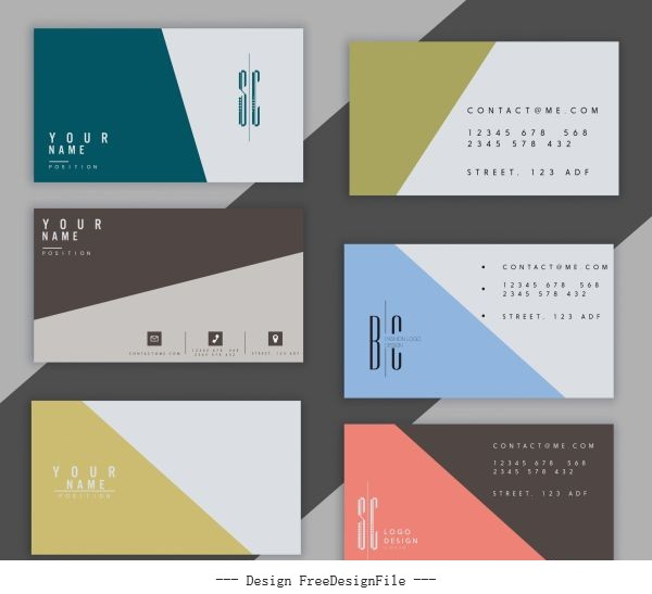 Business card templates colored plain classical simple vector design