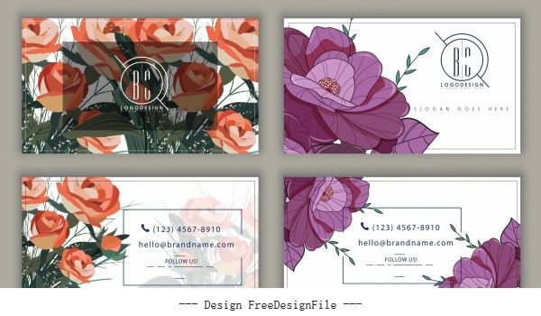 Business card templates floral vector