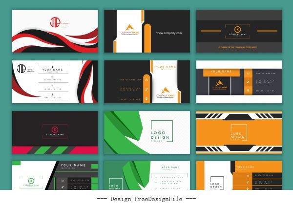 Business card templates modern colored illustration vector