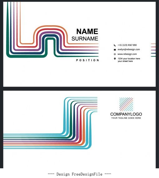 Business card templates modern colorful bended lines vectors