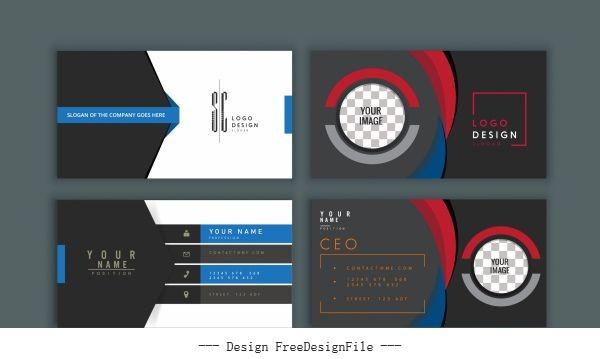 Business card templates modern dark vector