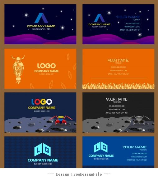 Business card templates space nature modern themes vector graphics