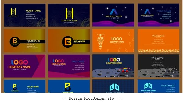 Business cards templates collection colorful dark modern vector