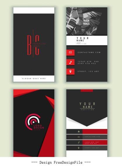 Business cards templates dark black red vector set
