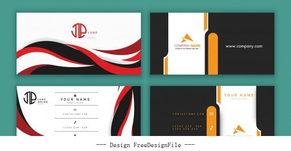 Business cards templates swirled plain contrast colored vector
