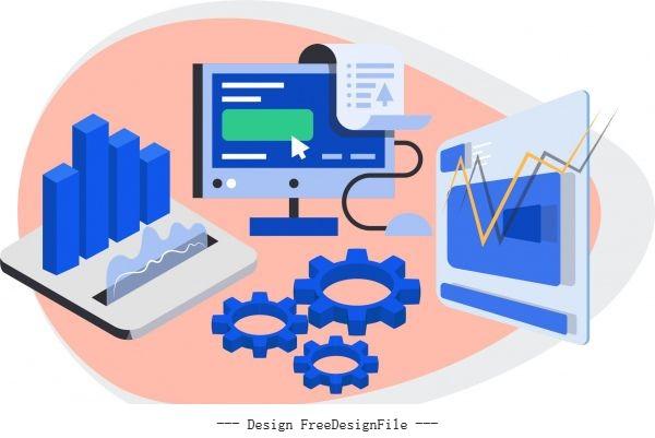Business elements 3d symbols vectors