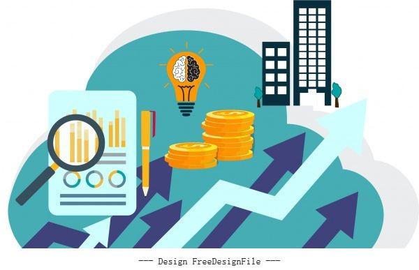 Business elements arrow coin lightbulb chart sketch vector design